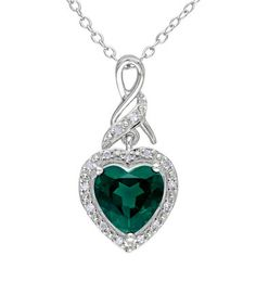 Look what I found on #zulily! Simulated Emerald & Diamond Silver Ribbon Pendant Necklace #zulilyfinds