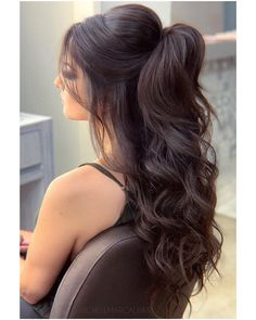 22 Perfectly Gorgeous Down Hairstyles for Prom - Style My Hairs Hair Up Styles, Long Hair Wedding Styles, Wedding Hair And Makeup, Hair Makeup, Formal Hairstyles For Long Hair, Bride Hairstyles, Hairstyles For Black Hair, Black Curly Hair, Long Curly Hair