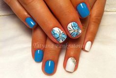 дизайн шеллак бабочки голубой и белый цвет - Nails Follow me @janefranciscomk Fonte: pesquisas internet