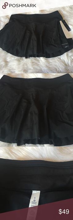 """Lululemon Quick Pace Skirt Brand new Lululemon Quick Pace Skirt Black Size 8. Run wild and free in this breezy skirt with built-in shorts and multiple pockets. LUXTREME fabric is sweat-wicking and 4-WAY stretch with a cool, smooth feel secure back pocket to store your essentials.Cinch the interior drawcord to customize your fit.Medium rise. Hugged Sensation. 3.5 """" Inseam less lululemon athletica Skirts"""