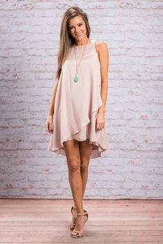 """""""Wait And See Dress, Blush""""ou wait and see! This dress WILL be your favorite, go to spring dress! It's so flowing and light! It's even got the layered look that you have been loving! #newarrivals #shopthemint"""