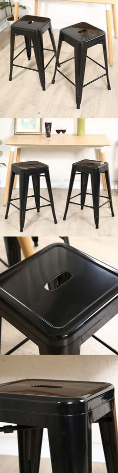 Bar Stools 153928: Set Of (2) Metal Steel Bar Stools Vintage Antique Style Counter 24 Stool Black -> BUY IT NOW ONLY: $59.99 on eBay!