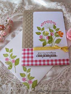 """carte fête des mères avec le set de tampons """"summer silhouettes"""" de Stampin'Up! encres, et papiers http://www.lespassetempsdalexandrine.com/article-cartes-pour-la-fete-des-meres-123683063.html"""