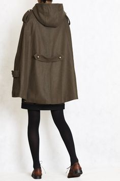 CapeWinter hoodie Coat in GREEN winter double breasted by FM908, $108.00