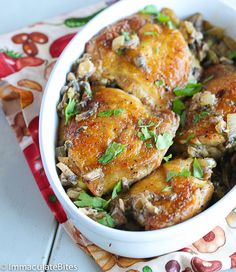 Chicken Thigh with Mushroom Garlic. Crispy and tender Chicken thigh with a lightened up mushroom onion and garlic sauce- Elegant flavorful weeknight meal in 30 minutes. Chicken Thighs Mushrooms, Mushroom Chicken, Mushroom Sauce, Dutch Oven Chicken Thighs, Turkey Recipes, Chicken Recipes, Dinner Recipes, Cooking Recipes, Healthy Recipes