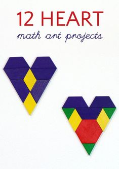 Valentine's Day math art designs and projects. Using math, kids make and design hearts to teach symmetry, geometry, graphing and more math skills. Everyone will love heart math art! #hearts #math #mathart #valentinesday