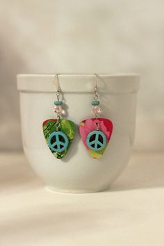 "Peace Earrings, Guitar Pick Earrings, Brightly colored upcycled ""guitar picks"" cut from Starbucks cards"