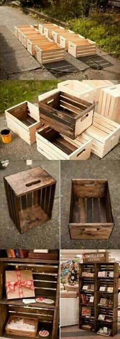 Upcycled bookcase using old crates. Love it!