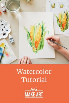 We just love the colors on this project! We are getting in the autumn spirit by painting one of our favorite fall crops. We are going to use layering and the wet-on-dry technique to really make our corn POP! Beginner friendly watercolor has never been so relaxing.  Self care has never been so tasty.  #letsmakeart #watercolorcorn #fallproject #watercolortutorial Watercolor Art Diy, Watercolor Projects, Watercolor Tutorials, Watercolor Techniques, Watercolor Flowers, Art Tutorials, Fall Crops, Dandelion Painting, Let's Make Art