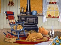 """John Sloane -- """"Harvest Kitchen"""" - As we step into the Autumn Season now, sharing this heartwarming painting, recalling earlier days and memories when a country kitchen always offered cozy comfort and warmth, whatever the mood of the day or season. Country Art, Country Kitchen, Country Life, Cosy Kitchen, Country Living, Vintage Country, Country Roads, Harvest Kitchen, Sweet Home"""