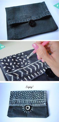 Recycled denim pouch bag {DIY} | Jessica Rebelo Design                                                                                                                                                      More