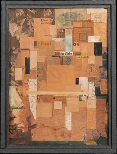 Plan of Love Kurt Schwitters (German, Hanover 1887–1948 Kendal) Date: 1919 and 1923 Medium: Cut and torn pasted papers, cellophane, tempera, nails, fabric, ink, and graphite, mounted on illustration and fiber boards, with artist-made wood frame Dimensions: 17 x 13 in. (43.2 x 33 cm) (including artist-made frame) Classification: Drawings Credit Line: The Muriel Kallis Steinberg Newman Collection, Gift of Muriel Kallis Newman, 2006
