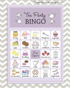 Tea Party Bingo in purple 20 unique game cards by PaperGemsShop