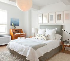 2Michaels Bedroom with Gray Fabric Headboard and Noguchi Lamp, Remodelista