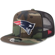 New England Patriots New Era Trucker 9FIFTY Snapback Adjustable Hat -  Woodland Camo Black 22b5cc20f35