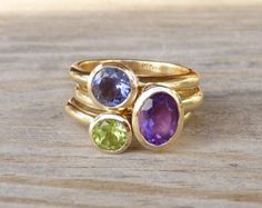 14k Gold Stacking Ring Set, Recycled Gold and Iolite, Peridot, Amethyst Ring, Eco Friendly
