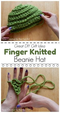 How to Finger Knit a Beanie Hat DIY - need a new finger knitting project? Want to try something new? Here is a super cool NO SEW Finger Knitted Beanie Hat DIY! Can't wait to give it a go! Knitting How to Finger Knitting - Red Ted Art Finger Knitting Projects, Yarn Projects, Sewing Projects, Diy Finger Knitting, Arm Knitting, Knitting Patterns, Knitting Ideas, Knitting Tutorials, Kids Knitting