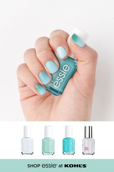 Treat yourself to a colorful manicure right at home. Looking to keep things cool for summer? Use a refreshing mix of bright whites, mint greens and icy blues to create a nice ombre effect. Shop essie nail polish and more at Kohls.com. #nailpolish #beauty Summer Acrylic Nails, Best Acrylic Nails, Acrylic Nail Designs, Pastel Nails, Essie Nail Colors, Essie Nail Polish, Gel Nails, Toenails, Fire Nails
