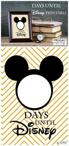 Countdown to Disney Printable Free Countdown to Disney Printable - countdown the days until Disney World, Disneyland, or a Disney Cruise. Frame and daily change the number! Free printable on Frugal Coupon Living.Free Countdown to Disney Printable - countd Disney Diy, Disney Crafts, Walt Disney, Disney Land, Disney Ideas, Disney Stuff, Disney Trivia, Disney Family, Disney Parks