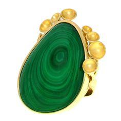Modernist Malachite Gold Ring |1stdibs.com