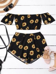 6f6c3ca1f34 Off Shoulder Crop Top And Sunflower Shorts - Black S Cute Summer Tops