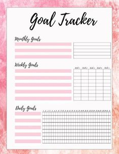 Free Printable Goal Tracker - Pink Download www.MalenaHaas.com