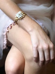 Nikki Witt Annabelle Bracelet in White Golden Leaves, Flower Frame, Cuffs, Make Up, Wedding Rings, Engagement Rings, Bracelets, Jewelry, Fashion