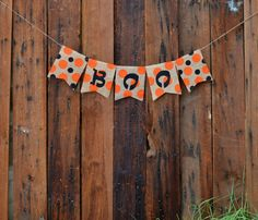 BOO polka dot BURLAP banner for Halloween by LylaDee on Etsy, $12.00