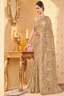 ab1b108a45c Buy online Gold colour designer heavy Net saree at joshindia  Wedding   Latest  Party Wear  Modern  Embroidery  Border  With Price  Mumbai  Yellow   For Girls ...