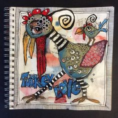 From the LoveArtHappyLife class. Art Journal Pages, Art Journals, Bright Colors Art, Art Doodle, Happy Paintings, Wow Art, Art Journal Inspiration, Whimsical Art, Bird Art