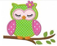 aplicación buho camiseta intantil niña embroidery machine designs | sleeping girl owl applique machine embroidery design by FunStitch
