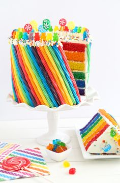 Make this rainbow candy cake for the most colourful birthday party ever
