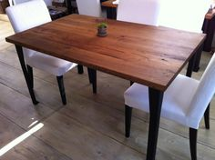 Steel legs!  Reclaimed barnwood dining table featuring American by scottcassin, $1295.00