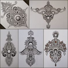 While i quite enjoy drawing round things,i enjoy drawing weirdly shaped stuff even more. Mandala Drawing, Mandala Tattoo, Mandala Art, Tattoo Sketches, Tattoo Drawings, Body Art Tattoos, Doodle Patterns, Zentangle Patterns, Mehndi Designs