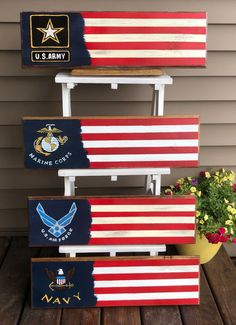 Hand painted sign, sealed in polyurethane. Can be personalized for free Military logo flag wood sign. Hand painted sign, sealed in polyurethane. Can be personalized for free Patriotic Crafts, Patriotic Decorations, July Crafts, Military Decorations, Patriotic Party, Americana Crafts, Pallet Flag, Wood Flag, Fourth Of July Decor
