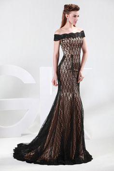 Black Lace Cap Sleeves Mermaid Evening Dress