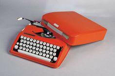 'Hermes Baby' orange plastic typewriter - West Germany, circa 1969