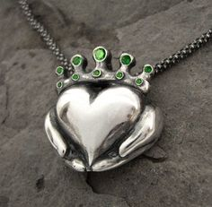 Claddagh Necklace - Emerald Colour CZ Stones - Handmade - Romantic, Gifts For Girlfriend, Gifts For Her, Celtic Heart -Rickson Jewellery 113 Irish Jewelry, Unique Jewelry, Jewelry Ideas, Vintage Jewelry, Claddagh Rings, Claddagh Tattoo, Claddagh Symbol, Celtic Wedding Rings, Irish Celtic