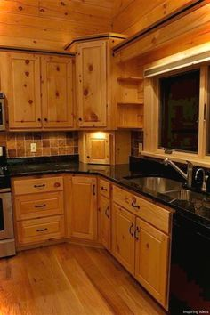 10 Rustic Kitchen Designs with Unfinished Pine Kitchen Cabinets Rilane - Is your house feeling a tiny dated? Knotty Pine Cabinets, Knotty Pine Kitchen, Pine Kitchen Cabinets, Kitchen Cabinet Styles, Kitchen Redo, Painting Kitchen Cabinets, Home Decor Kitchen, Country Kitchen, New Kitchen