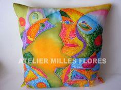 Hodvábny vankúš / Silken cushion, ručne maľovaný hodváb / Hand-painted silk
