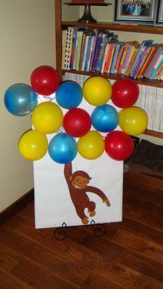 Curious George games_ pinata alternative: pop the balloon to claim your candy Curious George Games, Curious George Party, Curious George Birthday, Baby 1st Birthday, Birthday Games, 6th Birthday Parties, Birthday Ideas, Babyshower, Party