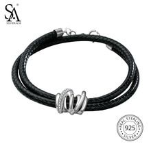 Cheap bangle bracelet, Buy Quality bangle bracelets for women directly from China bangle leather bracelet Suppliers: US Domestic Sale 925 Sterling Silver Leather Wrap Bracelets Bangles for Women Black Two Layer 925 Silver Wrap Bracelet Crystal Bracelets, Bangle Bracelets, Bangles, Necklaces, Sapphire Pendant, Sterling Silver Bracelets, 925 Silver, Fine Jewelry, Jewellery