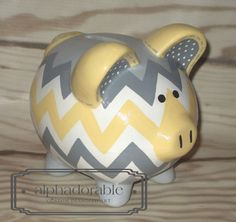 "SMALL yellow grey chevron, artisan hand painted ceramic personalized custom gray piggy bank 5"" on Etsy, $45.00"