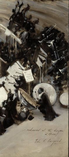 Rehearsal of the Pasdeloup Orchestra at the Cirque d'Hiverabout, 1879–80  John Singer Sargent  57.15 x 46.04cm (221/2 x 181/8 in.)