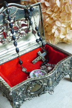 アンティーク ジュエリーボックス(メタル・角) French antique jewelry box