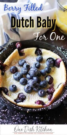 This berry filled Dutch Baby is perfect for breakfast or dessert. Also called a . - This berry filled Dutch Baby is perfect for breakfast or dessert. Also called a Puffed Pancake, thi - Mug Recipes, Baby Food Recipes, Cooking Recipes, Dutch Recipes, Amish Recipes, Skillet Recipes, Cooking Tools, Salad Recipes, Small Meals