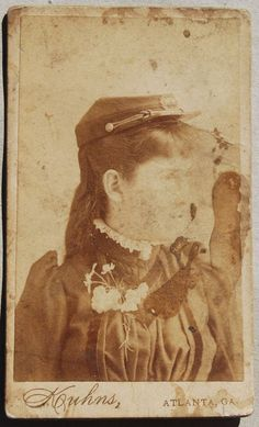 Antique CDV Photo of Young Woman w/ Civil War Hat SOPHIE WRIGHT DAVES odd one def not 1860s her dress is 1890s wonder if its comeritive