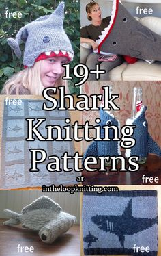 Celebrate Shark Week and the new Sharknado movie with knitting patterns for Shark toys, accessories, and more. Arm Knitting, Knitting For Kids, Knitting Projects, Knitting Ideas, Knitting Tutorials, Shark Week, Animal Knitting Patterns, Crochet Patterns, Crochet Quilt