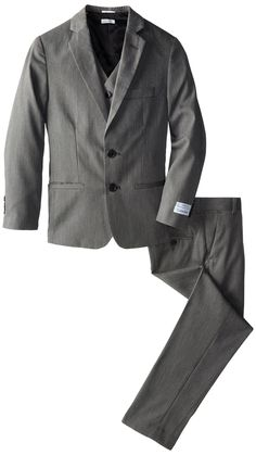 Calvin Klein Big Boys' Pin Dot Three-Piece Suit Set, Light Grey, 10