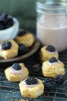 Homemade blackberry and almond custard in easy puff pastry cups.